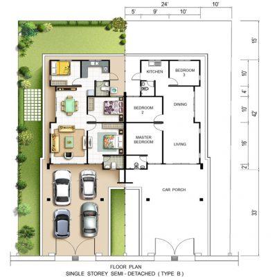 Rumah Berkembar 1 Tingkat Jenis B